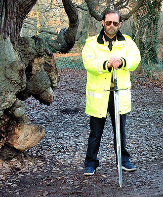 One of the Tree Musketeers Adrian with the Sword of Sherwood Forest
